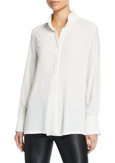 Escada Nissi Banded-Collar Georgette Tunic