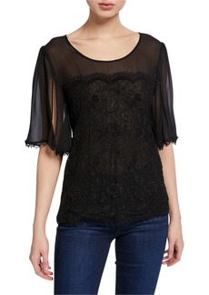 Escada Noddie Half-Lace Date Night Blouse