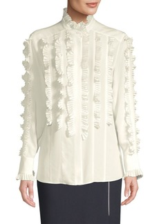 Escada Nokahra Silk Pleated Blouse