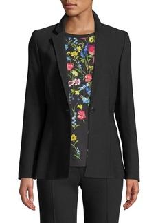 Escada Notch-Collar One-Button Side-Slit Wool-Blend Jacket