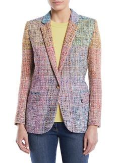 Escada Notched-Lapels One-Button Multicolor Tweed Jacket