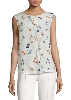 Escada Nunila Sleeveless Pansy-Print Silk Top