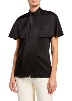 Escada Nusahi Tie-Neck Satin Capelet Blouse