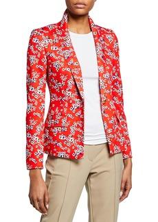 Escada One-Button Floral-Print Jersey Jacket