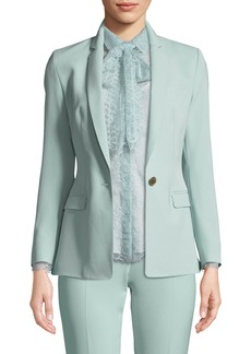 One-Button Narrow-Lapel Crepe Jacket