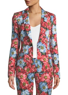 Escada One-Button Notched-Lapel Floral-Jacquard Jacket