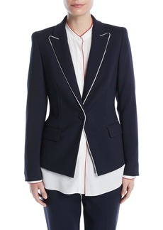 Escada One-Button Wool-Blend Jacket w/ Contrast Piping