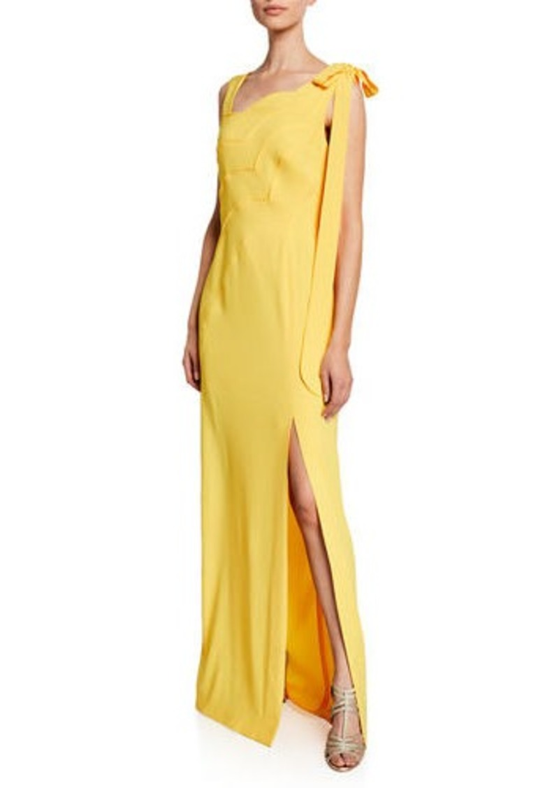 Escada One-Shoulder Scalloped-Front High-Slit Gown