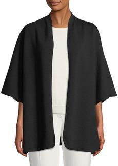 Escada Open-Front 3/4-Sleeve Wool Cape w/ Logo Intarsia