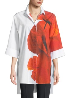 Escada Orchid-Print 3/4-Sleeve Poplin Tunic