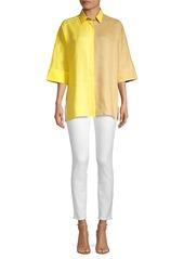 Escada Oversized Two-Tone Linen Shirt