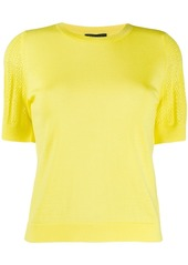 Escada perforated sleeve knitted top