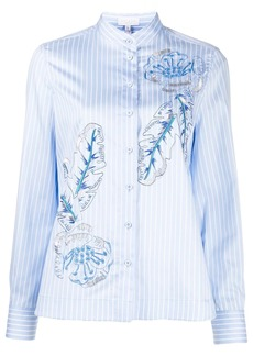 Escada pin stripe leaf print shirt