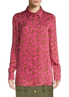 Escada Pink Cheetah Print Blouse