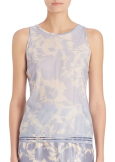 Escada Pleated Floral Shell