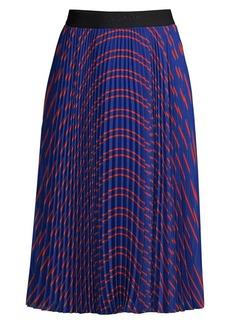 Escada Pleated Print Skirt