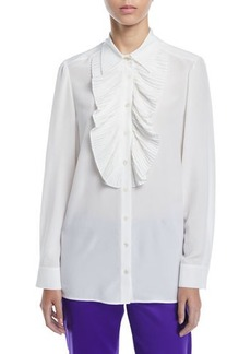 Escada Pleated Ruffle Bib Button-Front Long-Sleeve Silk Blouse