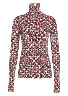 Escada Printed Knit Stretch-Silk Turtleneck Sweater