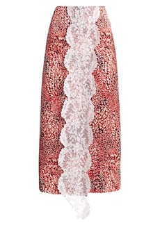 Escada Printed Lace-Front Midi Skirt