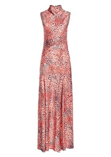 Escada Printed Sleeveless Highneck Maxi Dress