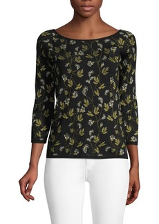 Escada Printed Three-Quarter Sleeve Top