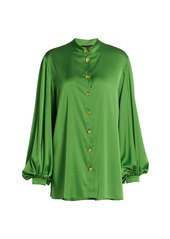 Escada Puff-Sleeve Satin Blouse