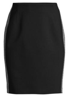 Escada Punto Milano Houndstooth Stripe Pencil Skirt