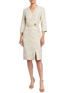 Escada Python Jacquard 3/4-Sleeve Dress