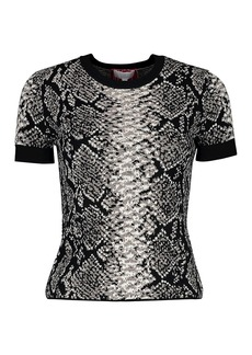 Escada Python Short-Sleeve Knit Top
