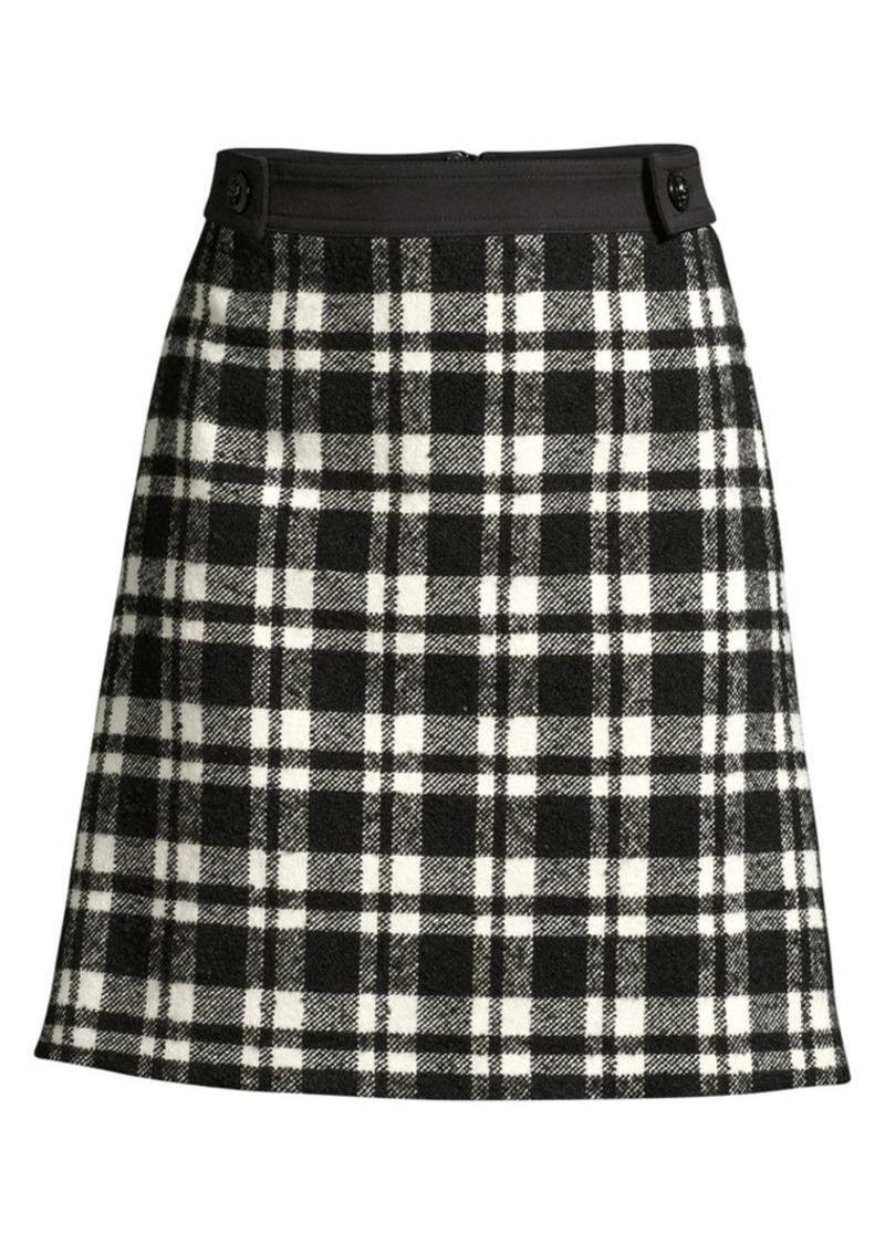 Escada Rafina Wool-Blend Plaid A-Line Skirt
