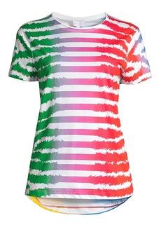 Escada Rainbow Striped Zebra-Print T-Shirt