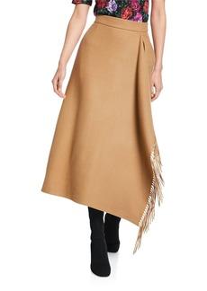 Escada Rakama Wool Fringe Midi Skirt