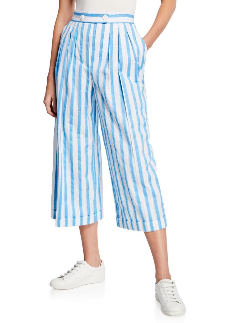 Escada Raw-Edge Striped Cotton Culottes