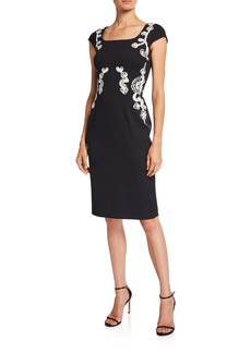 Escada Ribbon-Embroidered Cap-Sleeve Dress
