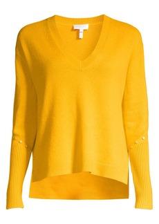 Escada Rivet-Detailed Wool-Blend Sweater