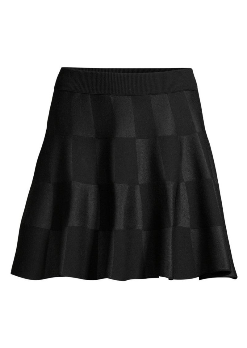 Escada Rossi Virgin-Wool Blend Checkered Flare Skirt