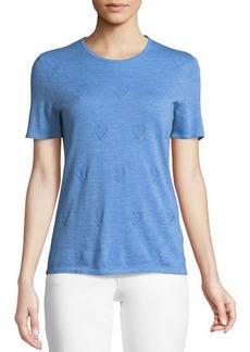 Escada Round-Neck Short-Sleeve Heart-Pointelle Cashmere Pullover Top