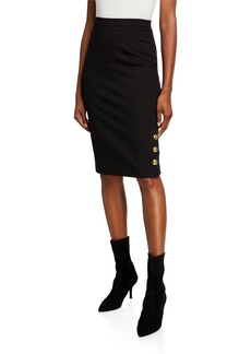 Escada Russi Golden-Buttoned Jersey Pencil Skirt