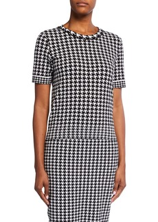 Escada Salie Houndstooth Short-Sleeve Sweater