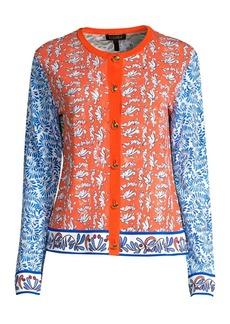 Escada Saneo Printed Colorblock Knit Cardigan