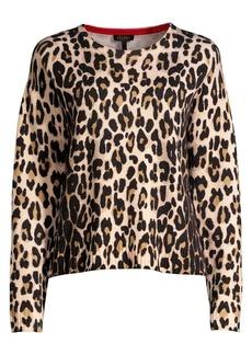 Escada Sanima Leopard-Print Wool Crewneck Sweater