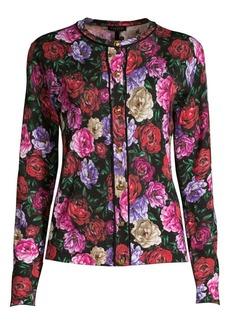 Escada Sanimea Peony Floral Wool & Silk Knit Cardigan