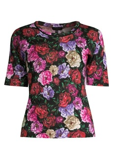 Escada Sanimo Peony Floral Wool & Silk Knit Shell Top