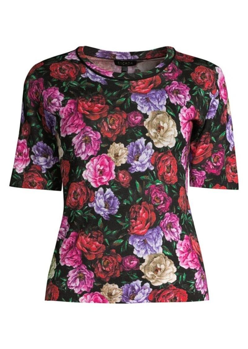 Escada Sanimo Peony Floral Wool & Silk Knit Shell Top