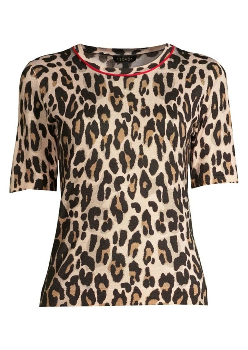 Escada Sanimo Wool & Silk Leopard-Print Knit Shell Top