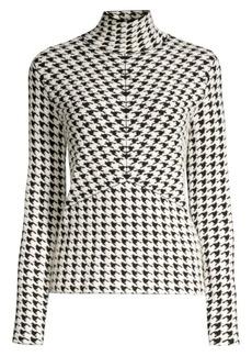 Escada Sapir Wool-Blend Houndstooth Turtleneck Sweater
