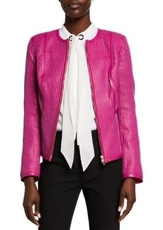 Escada Sari Check Woven Leather Zip-Front Jacket