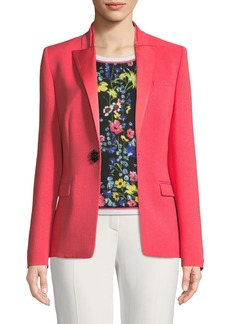 Escada Satin Peak-Lapel Jewel-Button Wool Tuxedo Jacket