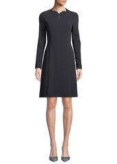 Escada Scallop-Neck Long-Sleeve A-Line Stretch-Wool Dress