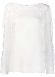 Escada scallop trim blouse